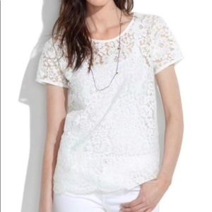 Madewell XS X-Small Lace Blossom Tee White T-Shirt